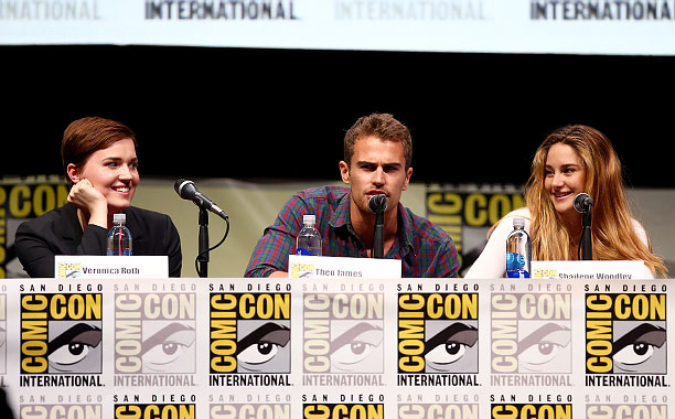 San Diego Comic-Con 2013, Divergent, ... | Writer Veronica Roth, actor Theo James, and actress Shailene Woodley at the Divergent panel
