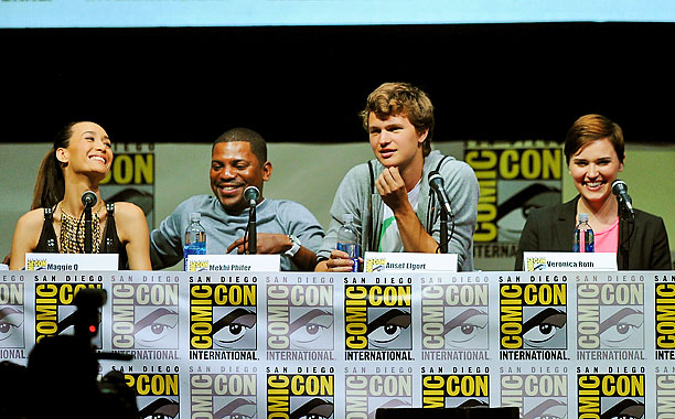 San Diego Comic-Con 2013, Ender's Game, ... | Maggie Q, Mekhi Phifer, Ansel Elgort, and writer Veronica Roth at the Ender's Game and Divergent panels