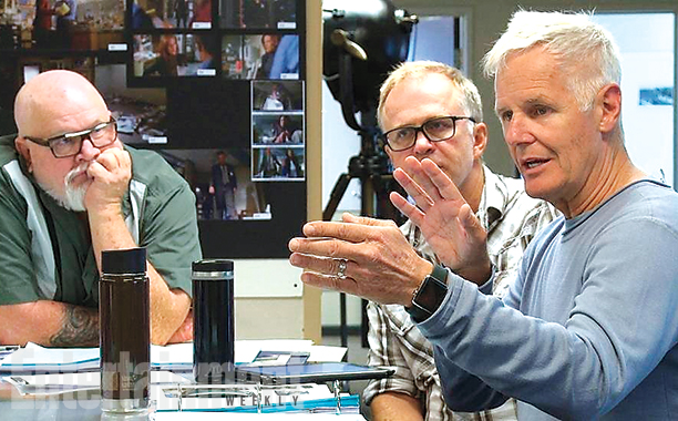 X-Files boss Chris Carter (right) at a production meeting