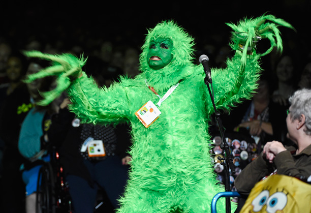 The Grinch has a question at the 'Doctor Who' panel