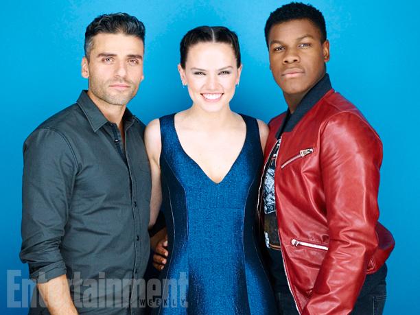 Oscar Isaac, Daisy Ridley, John Boyega, 'Star Wars: The Force Awakens'