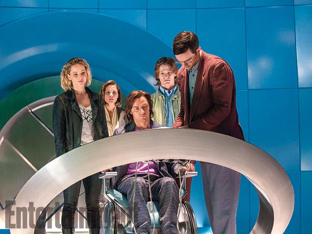 Raven/Mystique (Jennifer Lawrence), Moira MacTaggert (Rose Byrne), Charles Xavier (James McAvoy), Alex Summers/Havok (Lucas Till), and Hank McCoy/Beast (Nicholas Hoult)