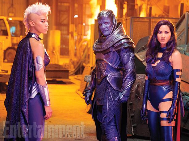 Ororo Munroe/Storm (Alexandra Shipp), En Sabah Nur/Apocalypse (Oscar Isaac), and Betsy Braddock/Psylocke (Olivia Munn)