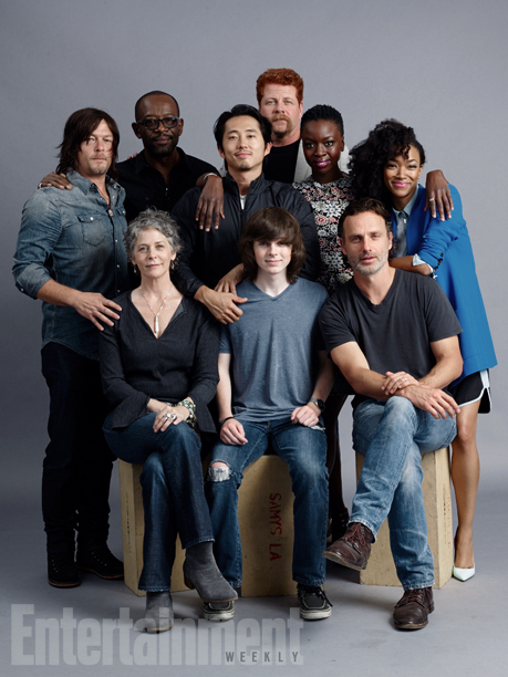 (Standing, l-r) Norman Reedus, Lennie James, Steven Yeun, Michael Cudlitz, Danai Gurira, Sonequa Martin-Green; (seated, l-r) Melissa McBride, Chandler Riggs, Andrew Lincoln, 'The Walking Dead'