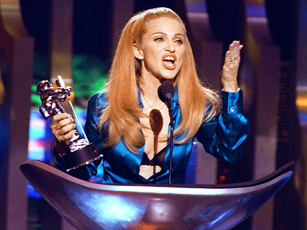 Madonna receiving the award for Best Female Video