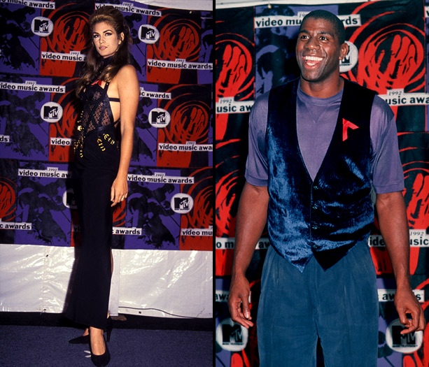 MTV Video Music Awards | The original House of Style host joined basketball star Magic Johnson backstage at the 1992 show. The model looked gorgeous in this appropriately '90s dominatrix-style…