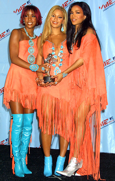 MTV Video Music Awards | The R&B trio channeled Pocahontas at the 2001 show when they picked up Best R&B Video for their hit ''Survivor.'' The girls wore orange fringed…