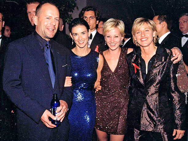 Bruce Willis, Demi Moore, Anne Heche, and Ellen Degeneres staged a meeting of the minds at the 1997 Emmys