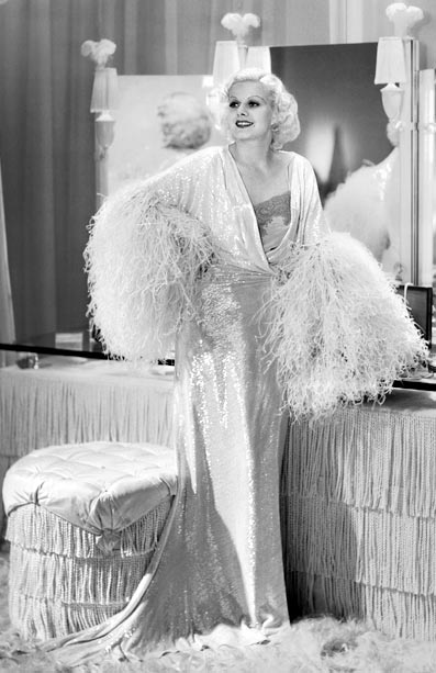 Jean Harlow, Dinner at Eight   Her performance in this 1933 comedy is considered to be one of her finest, but it was boudoir pieces like this ostrich feather fringe satin…