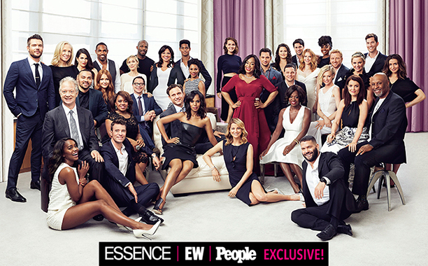 Shonda Rhimes with the stars of Grey's Anatomy, Scandal, and How to Get Away With Murder