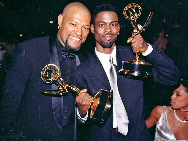 Chris Rock celebrated his wins at the 49th Emmys with Laurence Fishburne