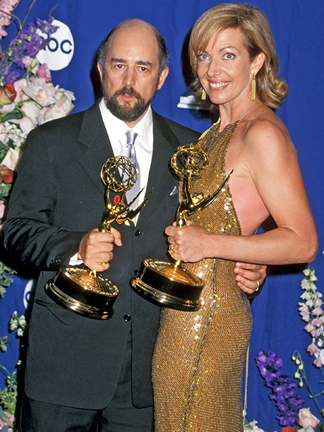 Allison Janney celebrated her Outstanding Supporting Actress in a Drama Series win with The West Wing costar Richard Schiff