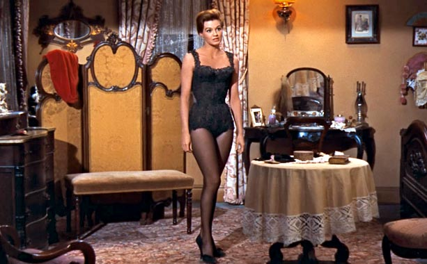 Angie Dickinson   It's easy to see why John Wayne?s Sherriff Chance has his eye on Dickinson's dance hall queen in this 1959 Western. The sultry actress wore…