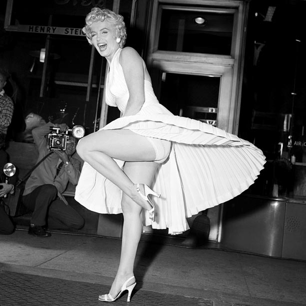 Marilyn Monroe, The Seven Year Itch   A gust of wind from a Manhattan subway vent sent the hem of Marilyn Monroe?s halter dress into the air, revealing her foundation garments and…