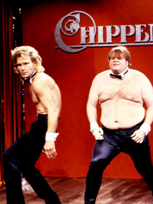 Saturday Night Live, Chris Farley, ... | Saturday Night Live Farley's wannabe Chippendale's dancer may not have had Swayze's bod, but he deserves an A (and some dolla dolla bills, y'all) for…