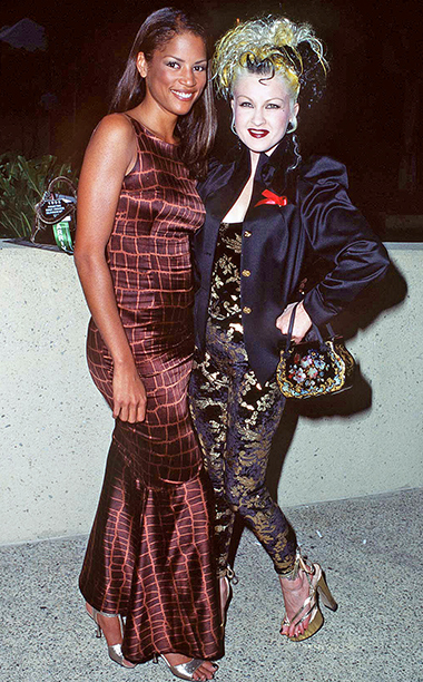 Veronica Webb and Cyndi Lauper were girls having fun at the 1995 Emmys