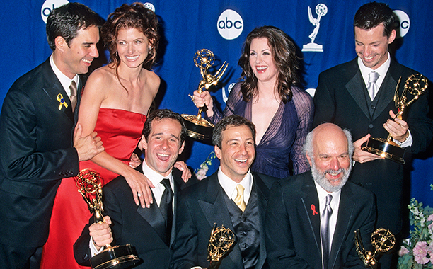 Eric McCormack, Debra Messing, Megan Mullally, Sean Hayes, producer Max Mutchnick, producer David Kohan and director James Burrows celebrated 'Will & Grace' winning Outstanding Comedy Series