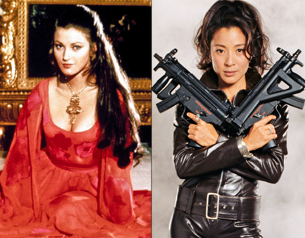 Jane Seymour in Live and Let Die (1973) and Michelle Yeoh in Tomorrow Never Dies (1997)
