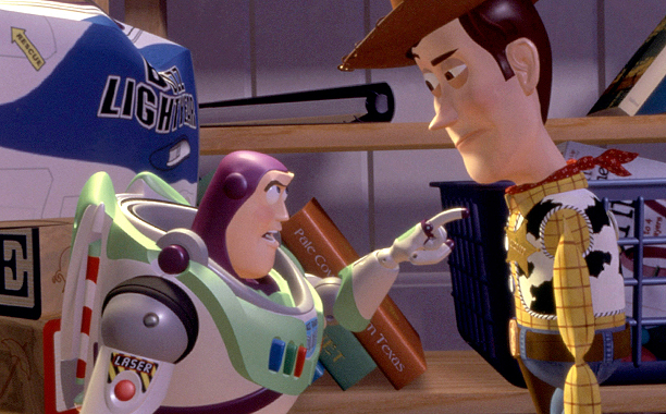 Toy Story (1995) G, 81 mins., directed by John Lasseter, starring the voices of Tom Hanks and Tim Allen