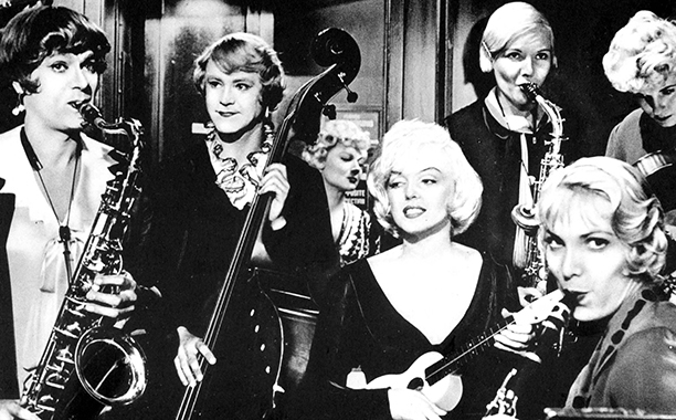 Some Like it Hot (1959) Unrated, 120 mins., directed by Billy Wilder, starring Tony Curtis, Jack Lemmon, Marilyn Monroe, George Raft, Joe E. Brown