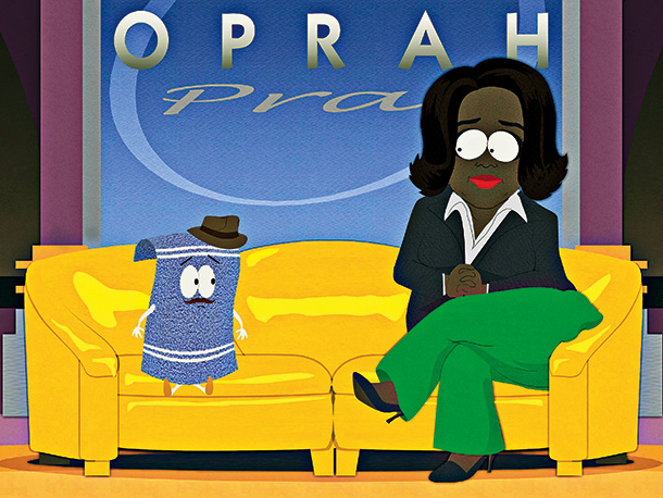 South Park | Season 10, episode 5 After stoner towel? Towelie apologizes to Oprah for fabricating his memoirs, the TV host is held hostage at gunpoint by her…
