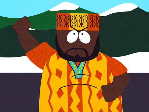 South Park | Season 4, episode 8 The Isaac Hayes-voiced Chef launches a campaign to change the South Park flag, which depicts four white figures hanging a black…