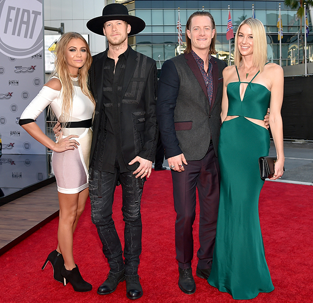 Brittney Marie Cole, Brian Kelley, and Tyler Hubbard of Florida Georgia Line, and Hayley Stommel