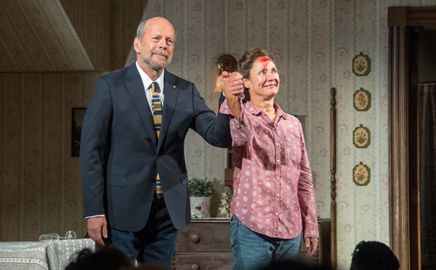 Bruce Willis and Laurie Metcalf in 'Misery'