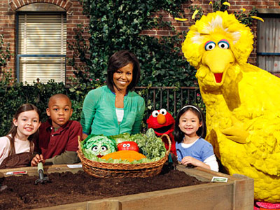 Sesame Street, Michelle Obama | MICHELLE OBAMA The First Lady helped celebrate Sesame Street 's 40th birthday with a visit to extol the virtues of fresh fruits and vegetables. She…