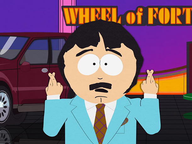 South Park   Season 11, episode 1 Stan's dad, Randy, is? ostracized when he says the N-word on Wheel of Fortune , after being given the category ''People…