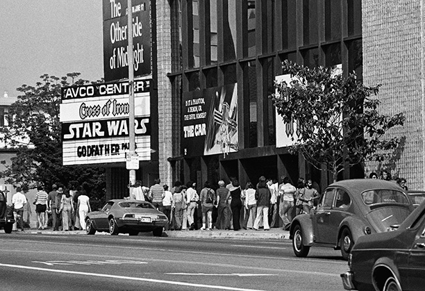 June 7, 1977: Fans line up outside of Los Angeles' Avco Center Theater for Star Wars
