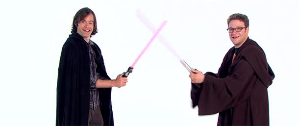 Bill Hader and Seth Rogen as Jedis