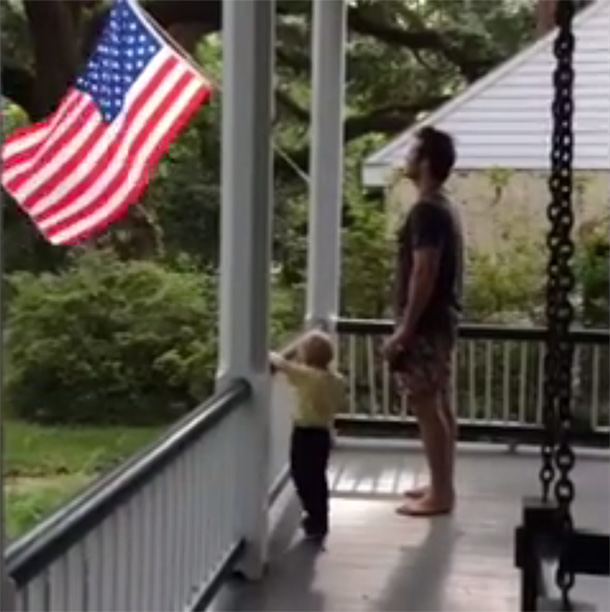 When He Instilled Some Patriotism In His Son