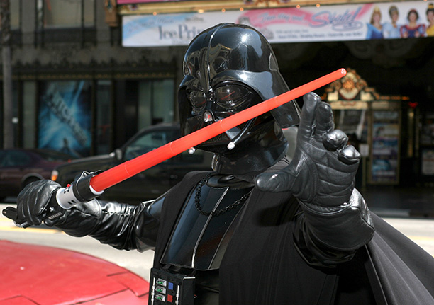 May 19, 2005: A Star Wars fan dressed up as Darth Vader gets ready for Revenge of the Sith at Hollywood's Mann's Chinese Theatre