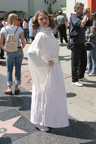 May 19, 2005: A Star Wars fan dressed up as Princess Leia gets ready for Revenge of the Sith at Hollywood's Mann's Chinese Theatre