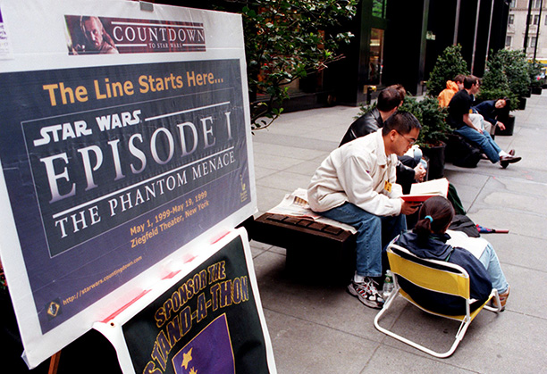 May 6, 1999: Fans line up outside of New York City's Ziegfeld Theatre for The Phantom Menace