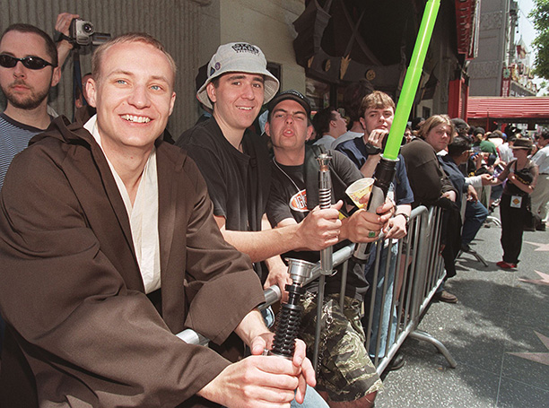 May 12, 1999: Costumed fans get ready for The Phantom Menace at Hollywood's Mann's Chinese Theatre