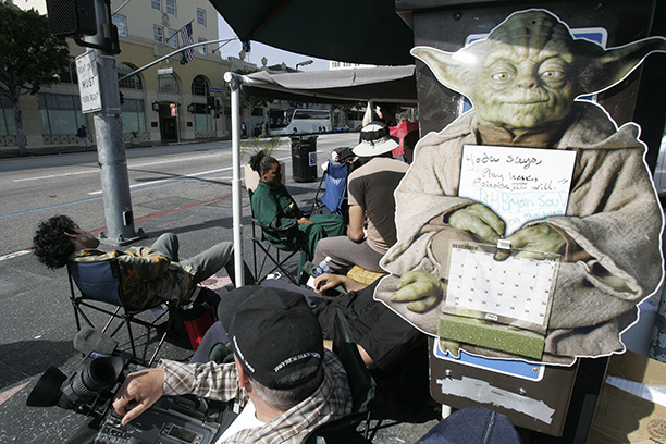 April 13, 2005: Star Wars fans line up days in advance for Revenge of the Sith outside of Hollywood's Mann's Chinese Theater