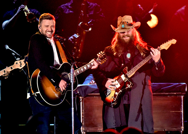 Chris Stapleton and Justin Timberlake at the CMAs