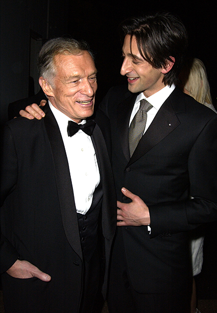 Hugh Hefner and Adrien Brody
