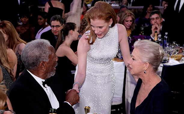 Morgan Freeman, Jessica Chastain, and Helen Mirren