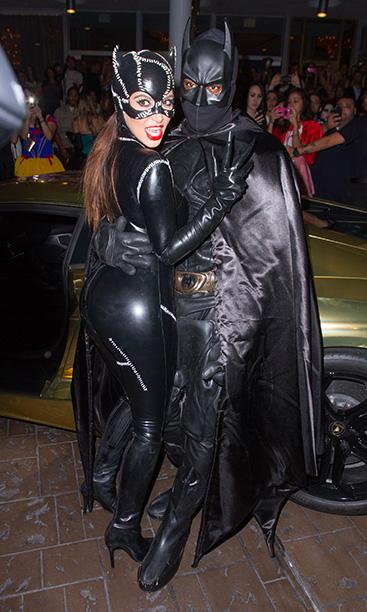 Kim Kardashian as Catwoman and Kanye West as Batman
