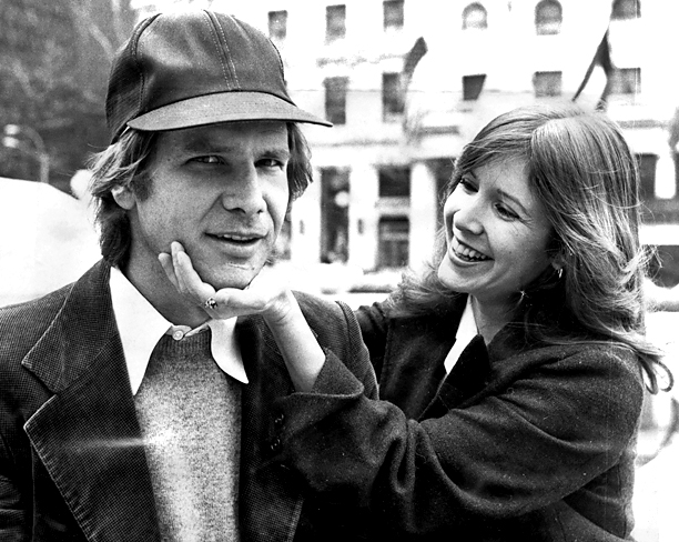 Harrison Ford and Carrie Fisher on Fifth Ave outside The Plaza Hotel