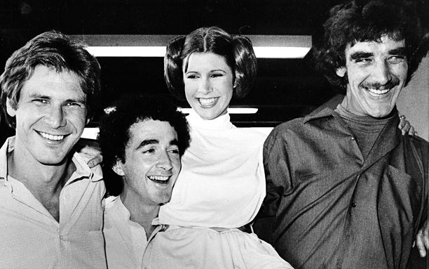 Harrison Ford, Anthony Daniels, Carrie Fisher and Peter Mayhew during a break from filming a television special presentation