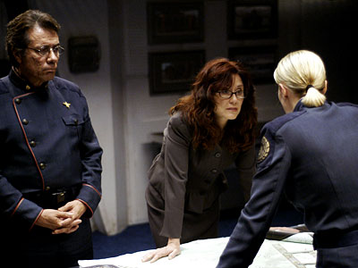 Mary McDonnell, Edward James Olmos, ... | Played by: Mary McDonnell Laura Roslin (center) has the presidency thrust upon her by tragedy — in this case, the near extinction of humanity at…