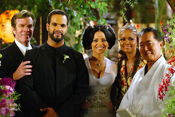 St. John with Peter Bergman, Victoria Rowell, Tonya Lee Williams, and guest star George Takei, 2003
