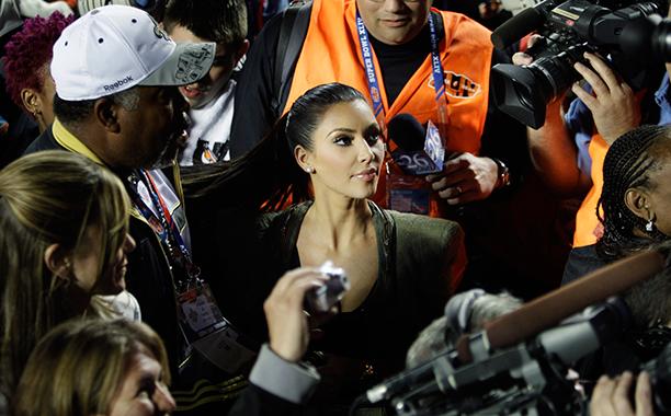 Kim Kardashian at Super Bowl XLIV (New Orleans Saints vs. Indianapolis Colts) in 2010