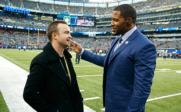 Aaron Paul and Michael Strahan at Super Bowl XLVIII (Seattle Seahawks vs. Denver Broncos) in 2014