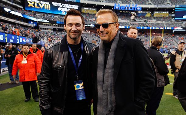 Hugh Jackman and Kevin Costner at Super Bowl XLVIII (Seattle Seahawks vs. Denver Broncos) in 2014