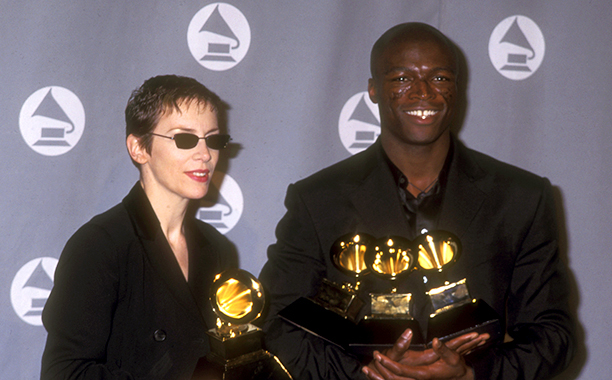 "Annie Lennox With Her Best Female Pop Vocal Performance Grammy for ""No More I Love You's"" and Seal With His Grammys for Record of the Year, Song of the Year, and Best Male Pop Vocal Performance for ""Kiss From a Rose"""